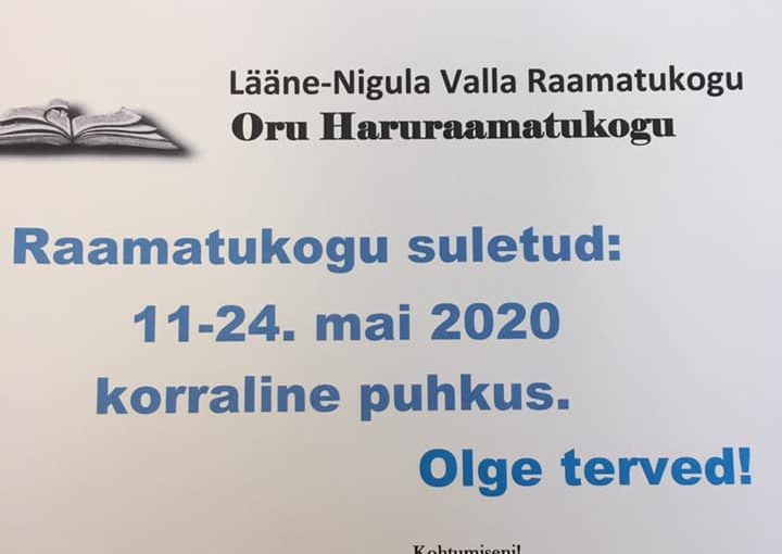 Raamatukogu suletud 11.-24. mai